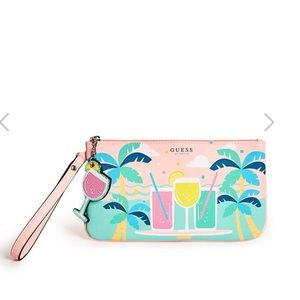 GUESS palm trees beach logo travel pouch